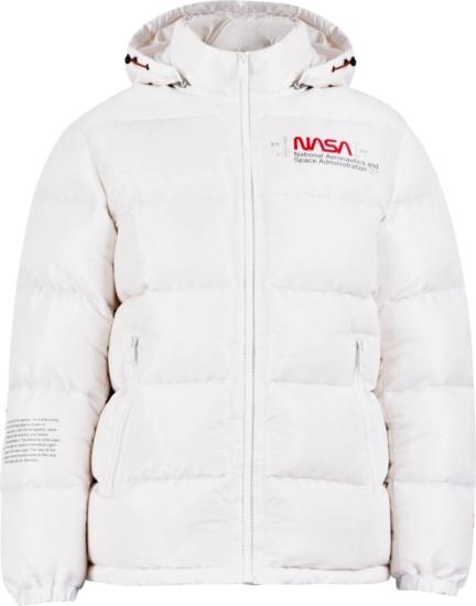 Heron Preston Nasa Print White Puffer Coat