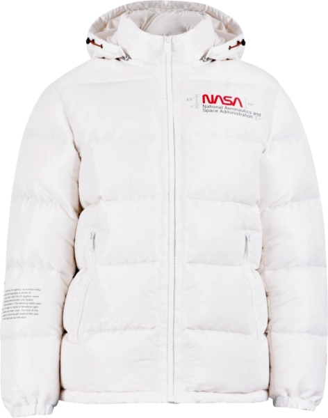 Heron Preston Nasa Print White Puffer Coat