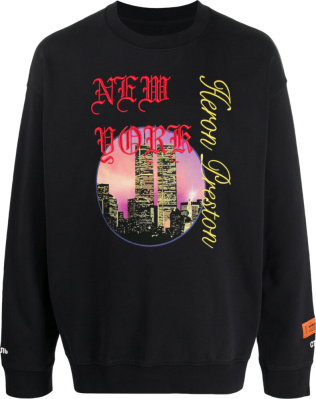 Heron Preston New York Embroidred Black Sweatshrit