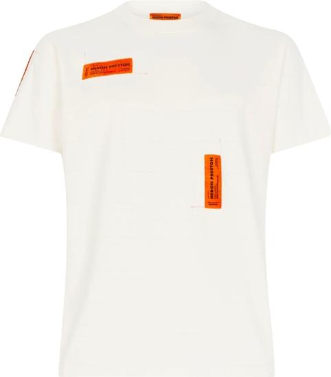 Heron Preston Orange Logo Patch White T Shirt