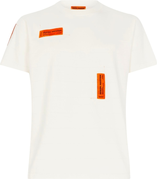 Heron Preston Orange Logo Patch White T Shirt