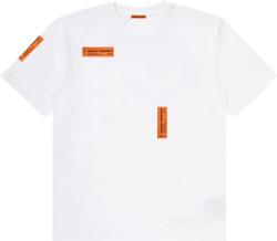 Heron Preston White And Allover Orange Logo Tag T Shirt