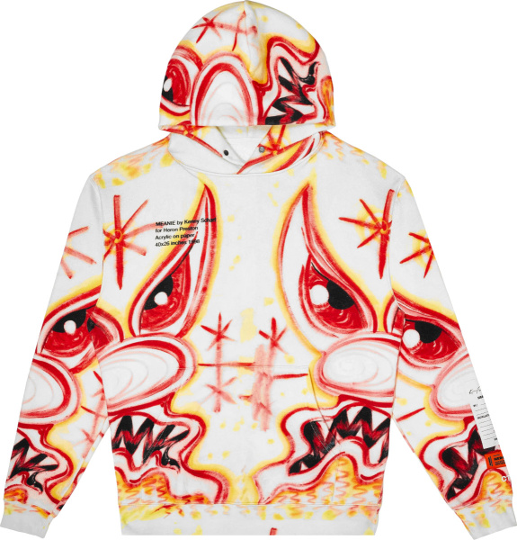 Heron Preston White And Multicolor Airbrushed Print Hoodie