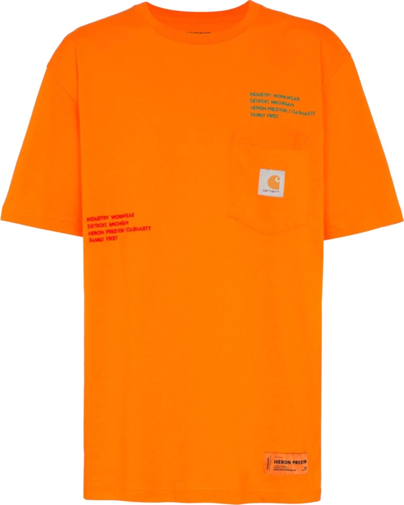Heron Preston X Carhartt Orange Logo Embroidered T Shirt