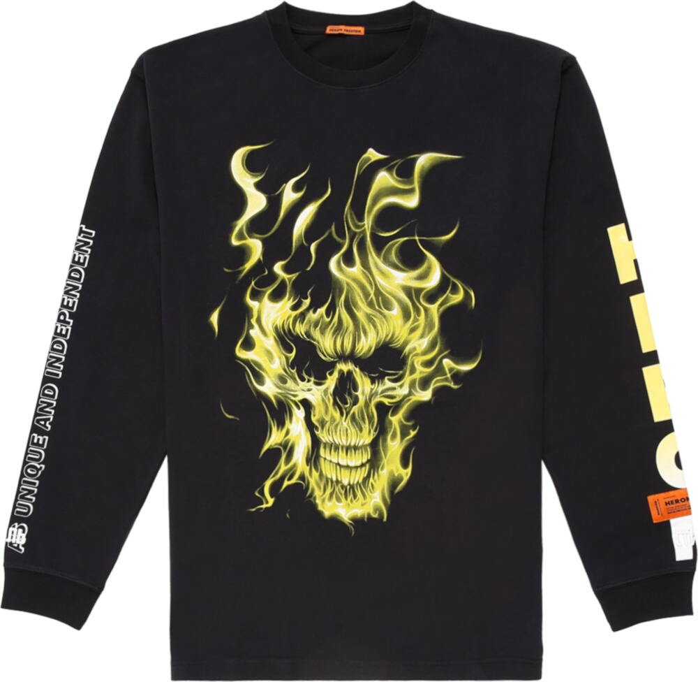 Heron Preston Yellow Skull Print Black T Shirt