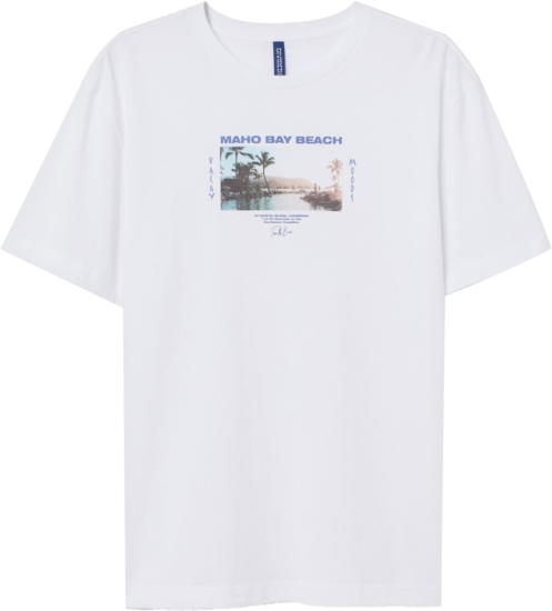 H&m Maho Beach Print White T Shirt