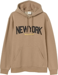 H&m New York Sports And Goods Print Brown Hoodie
