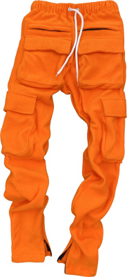 Hollywoodhunna Orange Fleece Cargo Sweatpants