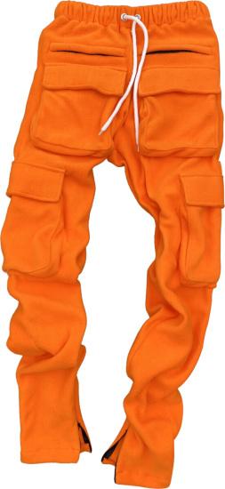 Hollywoodhunna Orange Fleece Cargo Sweatpants