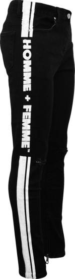 Homme Femme Black And White Logo Stripe Jeans