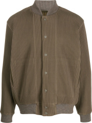 Homme Plissy Issey Miyake Brown Ribbed Bomber Jacket