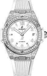 Hublot White And Diamond Pave Bezel Big Bang One Click Watch