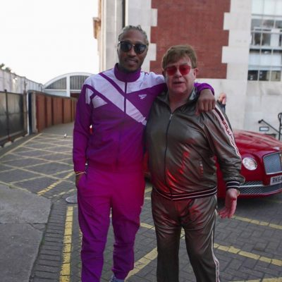 Instagram Post Of Future With Sir Elton John Wearing A Purple Reebok Archive Tracksuit