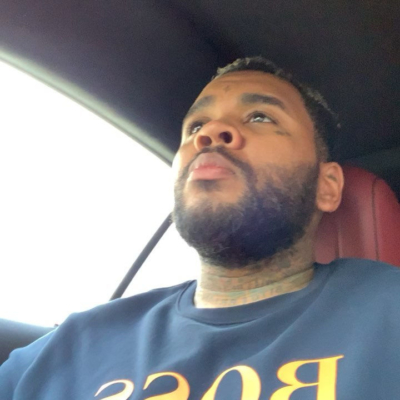 Instagram Post Of Kevin Gates Wearing A Blue Hugo Boss Sweatshirt With Orange Logo Print