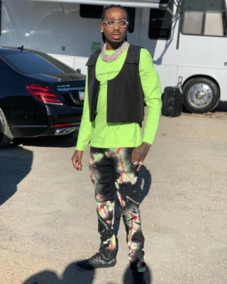 Instagram Post Of Quavo Wearing A Green Martine Rose Shirt Fear Of God Black Vest And 99 Percent Is Black Paint Splatter Pants