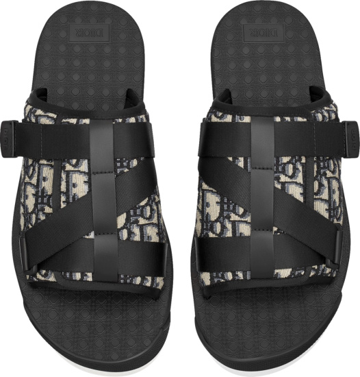 Ior Black And Beige Oblique Strap Alpha Sandals