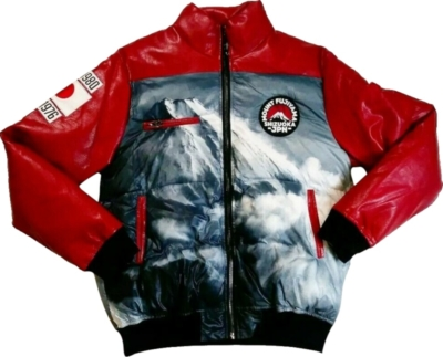 Iro Ochi Mountain Print Red Puffer Jacket