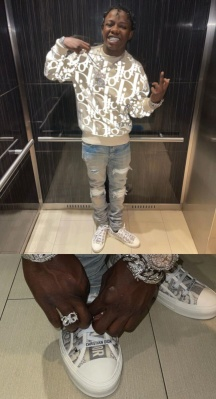 Jackboy Wearing A Dior Beige Sweater And Sneakers With Amiri White Underpatch Jeans