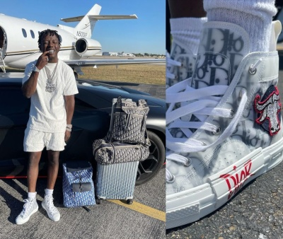 Jackboy Wearing A Dior Oblique Terry Cotton Outfit With Dior X Shawn Sneakers And Full Dior Bags