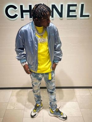 Jackboy Wearing A Dior X Shawn Bomber Jacket Yellow Dior Tee Amiri X Chemist Jeans And Dior B22 Sneakers