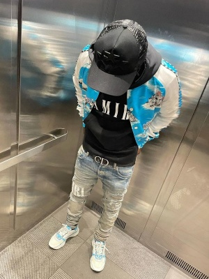 Jackboy Wearing An Amiri Hat Jacket Hoodie And Jeans With Dior Sneakers