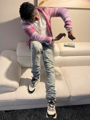 Jackboy Wearing An Amiri Pink Tie Dye Star Cardigan Dior Cd Icon Tee Amiri Clay Track Jeans And Dior B22s