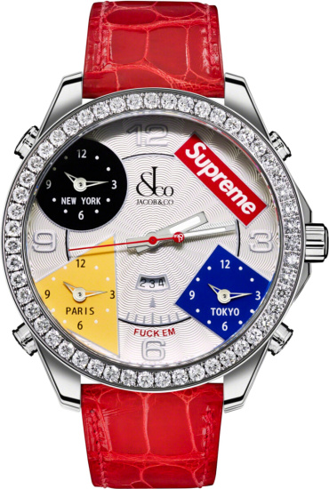 Jacobs And Co X Supreme Red Time Zone Watch