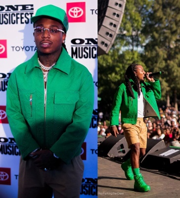Jacquees Wearing A Green Louis Vuitton Trucker Hat And Jacket With Bottega Veneta Green Boots