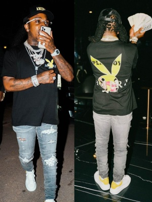 Jacquees Wearing An Amiri Trucker Hat With Amiri X Playboy Tee And Jeans And Alexander Mcqueen Sneakers