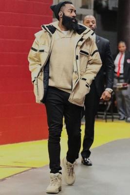James Harden Wearing A Balenciga Convertible Parka And Yeezy Desert Boots
