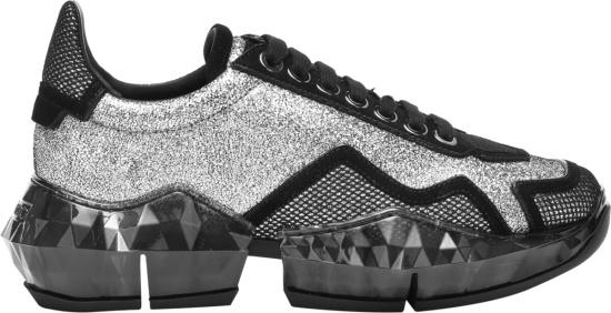 Jimmy Choo Black And Glitter Sneakers