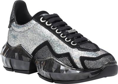 Jimmy Choo Black And Glitter Sneakers Diamond