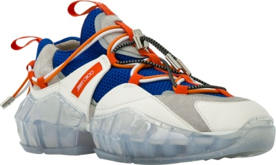 Jimmy Choo White Blue Orange Diamond Trail Sneakers