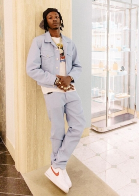 Joey Badass Wearing A Helmut Lang Light Blue Denim Jacket And Pants With White And Red Air Force Ones