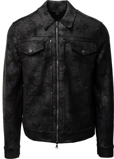 John Varvatos Coated Black Trucker Jacket