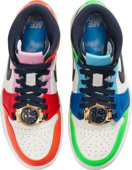 Jordan 1 Mid Multicolor Mismatching Watch Sneakers