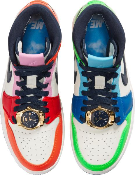 Jordan 1 Mid Multicolor Mismatching Watch Sneakers