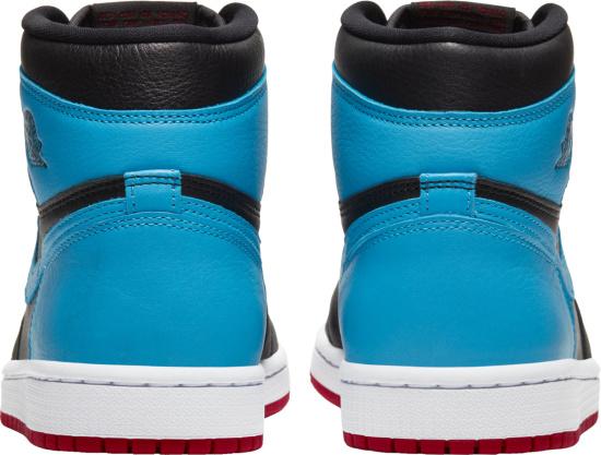 Jordan 1 Retro Hi Black Light Blue And Red Sneakers