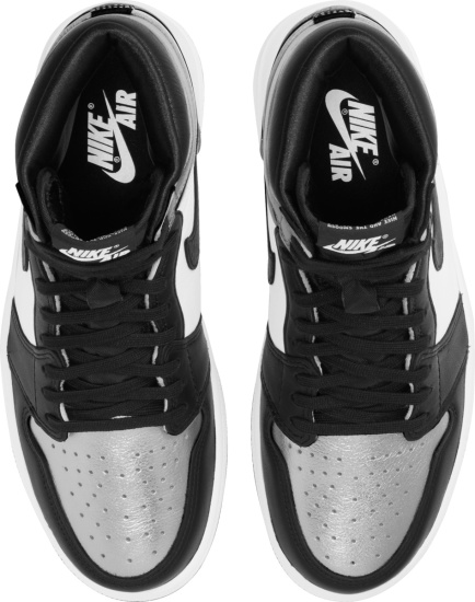 Jordan 1 Retro High White Black And Metallic Silver Sneakers
