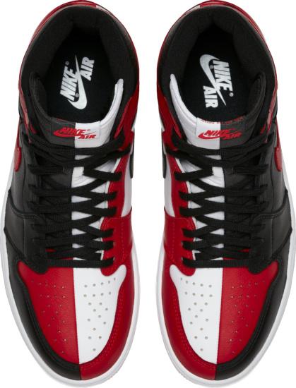 Jordan 1 Retro High White Red Black Split