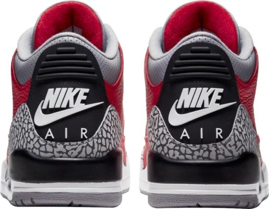 Jordan 3 Red Black Grey Cement Sneakers
