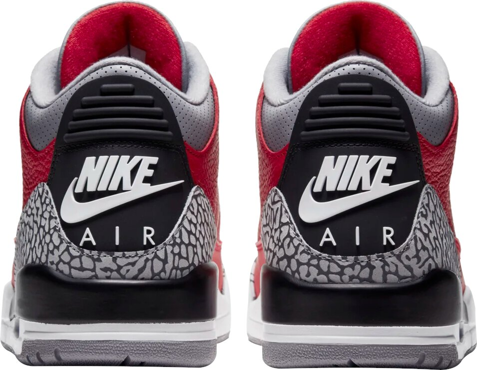 Jordan 3 Red Black Grey Cement Sneakers