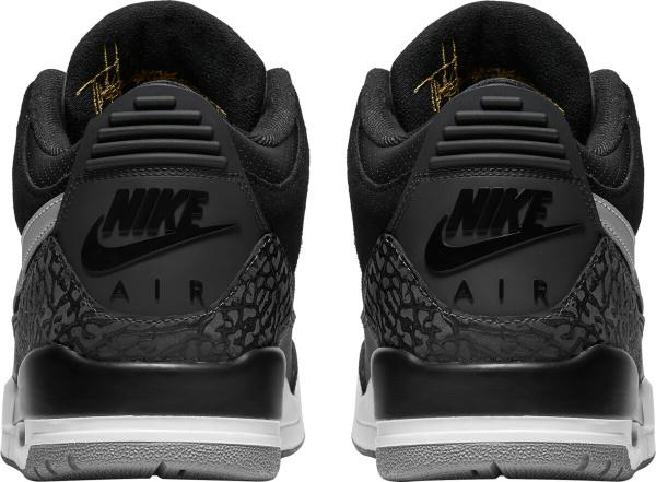 Jordan 3 Retro Black White Grey Gold Sneakers