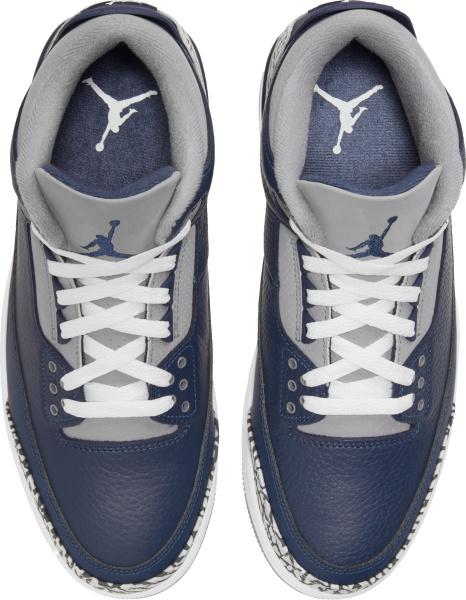 Jordan 3 Retro Navy Blue Grey And Grey Cement Sneakers