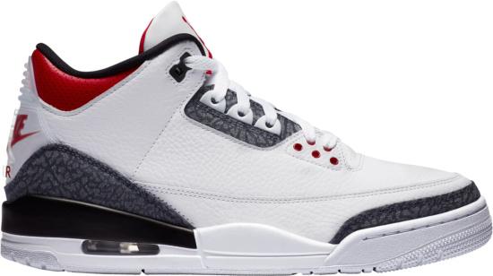 Jordan 3 Retro White Red Grey Denim