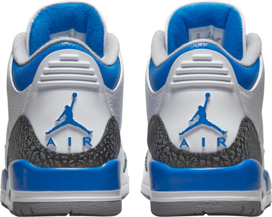 Jordan 3 White Neon Blue And Dark Grey Sneakers