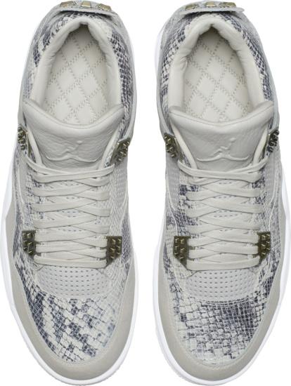 Jordan 4 Grey Leather And Snakeskin Print Sneakers