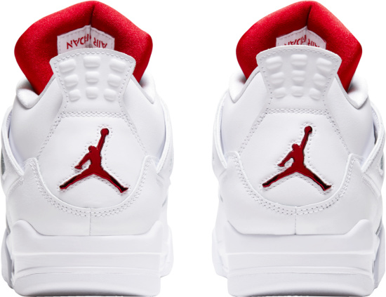 Jordan 4 Retro Metallic Red And White Sneakers