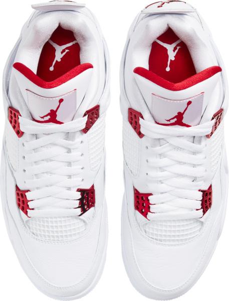 Jordan 4 Retro White Metallic Red Sneakers