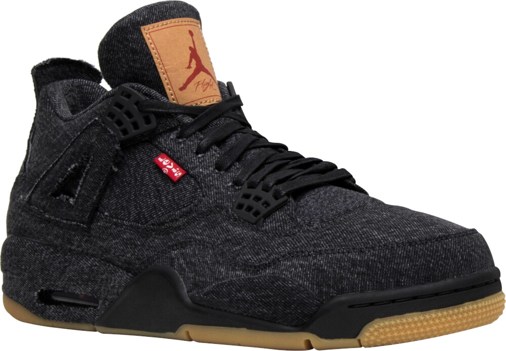 Jordan 4 X Levi Black Denim Sneakrs